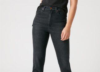 czarne jeansy z wysokim stanem